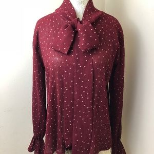 Topshop Bow Blouse Sheer Fabric Polka Dots Size Sm